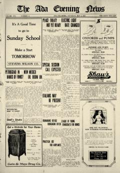 Ada Evening News, May 03, 1919, Page 1