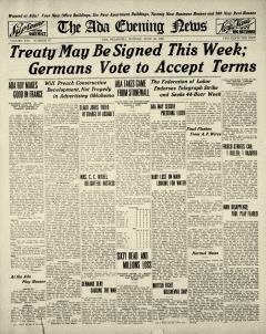 Ada Evening News, June 23, 1919, Page 1