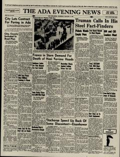Ada Evening News, January 17, 1946, Page 1