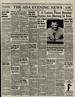 Ada Evening News, March 14, 1946, Page 1