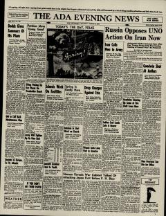 Ada Evening News, March 21, 1946, Page 1