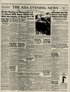 Ada Evening News, April 22, 1946, Page 1