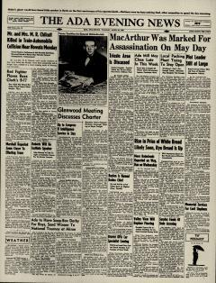 Ada Evening News, April 30, 1946, Page 1