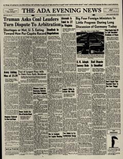 Ada Evening News, May 16, 1946, Page 1