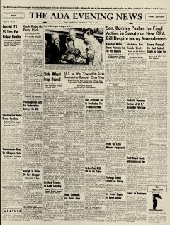 Ada Evening News, July 11, 1946, Page 1