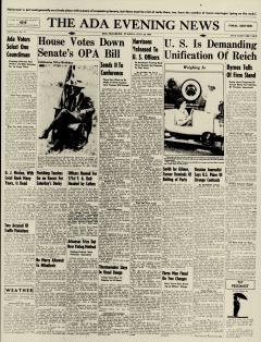 Ada Evening News, July 16, 1946, Page 1