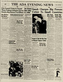 Ada Evening News, August 04, 1946, Page 1