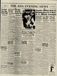 Ada Evening News, August 20, 1946, Page 1