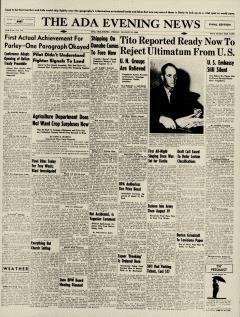 Ada Evening News, August 23, 1946, Page 1