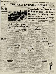 Ada Evening News, August 25, 1946, Page 1