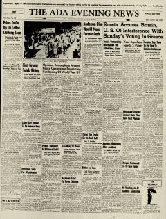 Ada Evening News, August 30, 1946, Page 1