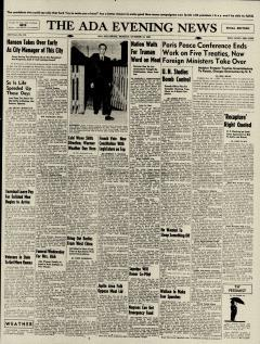 Ada Evening News, October 14, 1946, Page 1