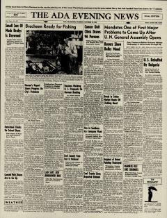 Ada Evening News, October 22, 1946, Page 1