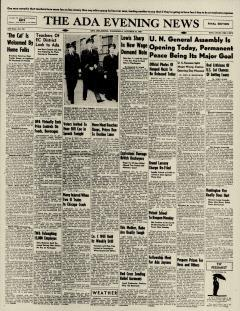 Ada Evening News, October 23, 1946, Page 1