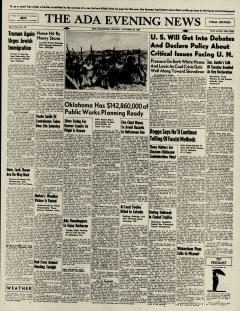 Ada Evening News, October 28, 1946, Page 1