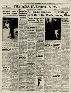 Ada Evening News, November 10, 1946, Page 1