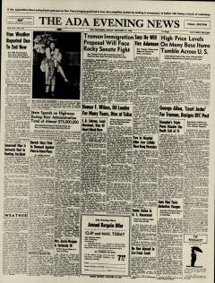 Ada Evening News, December 27, 1946, Page 1