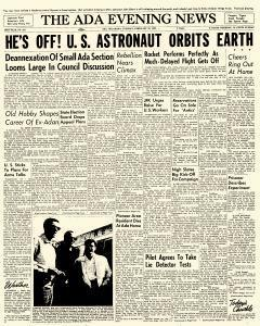 Ada Evening News, February 20, 1962, Page 1