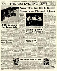Ada Evening News, May 10, 1962, Page 1