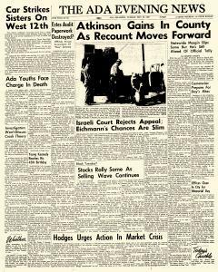 Ada Evening News, May 29, 1962, Page 1