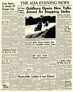 Ada Evening News, June 18, 1962, Page 1