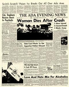 Ada Evening News, June 26, 1962, Page 1