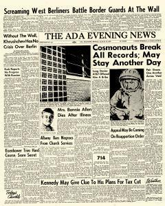 Ada Evening News, August 13, 1962, Page 1