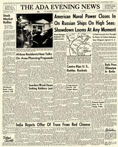 Ada Evening News, October 24, 1962, Page 1
