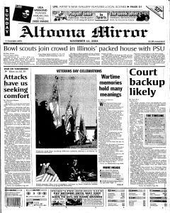 Altoona Mirror, November 11, 2001, Page 1