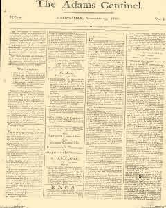 Adams Centinel, November 19, 1800, Page 1