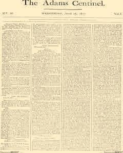 Adams Centinel, March 18, 1801, Page 1