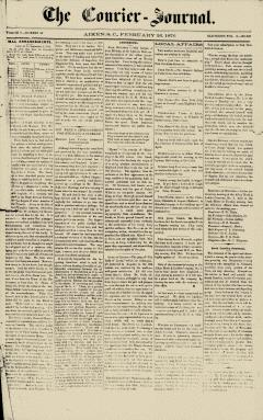 Aiken Courier Journal, February 26, 1876, Page 1