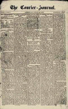 Aiken Courier Journal, July 29, 1876, Page 1
