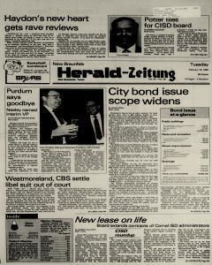 New Braunfels Herald Zeitung, February 19, 1985, Page 1
