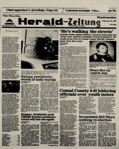 New Braunfels Herald Zeitung, February 18, 1987, Page 1
