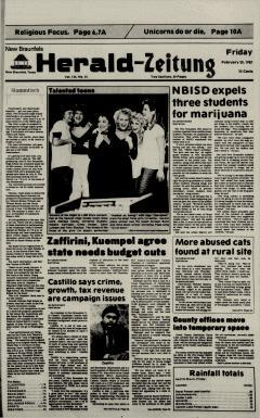 New Braunfels Herald Zeitung, February 20, 1987, Page 1