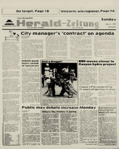 New Braunfels Herald Zeitung, May 03, 1987, Page 1
