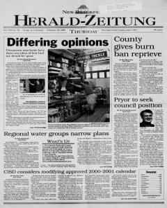New Braunfels Herald Zeitung, February 24, 2000, Page 1