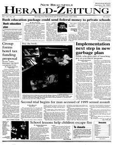 New Braunfels Herald Zeitung, January 24, 2001, Page 1