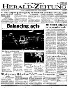 New Braunfels Herald Zeitung, January 30, 2001, Page 1