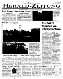 New Braunfels Herald Zeitung, February 01, 2001, Page 1