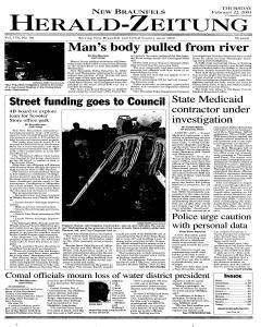 New Braunfels Herald Zeitung, February 22, 2001, Page 1