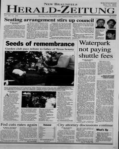 New Braunfels Herald Zeitung, May 16, 2001, Page 1