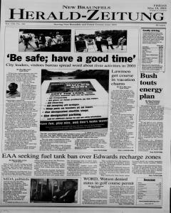 New Braunfels Herald Zeitung, May 18, 2001, Page 1