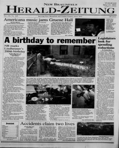 New Braunfels Herald Zeitung, May 22, 2001, Page 1