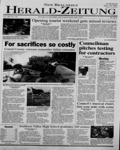 New Braunfels Herald Zeitung, May 29, 2001, Page 1