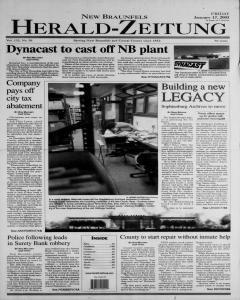New Braunfels Herald Zeitung, January 17, 2003, Page 1