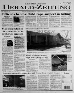 New Braunfels Herald Zeitung, January 18, 2003, Page 1