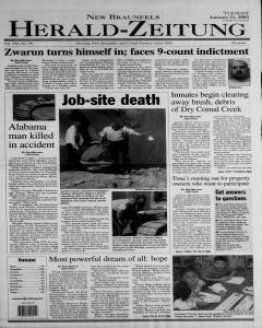 New Braunfels Herald Zeitung, January 21, 2003, Page 1