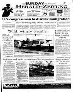 New Braunfels Herald Zeitung, January 14, 2007, Page 1